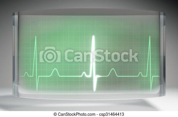 液体, ekg, 医学, 水晶, 緑, ディスプレイ, 未来派 - csp31464413