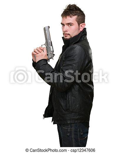 深刻, 銃, 保有物, 人 - csp12347606