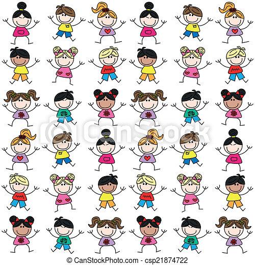 混ぜられた, パターン, 子供, seamless, 民族 - csp21874722