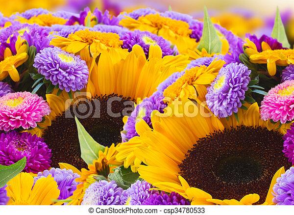 混ぜられた, 秋, 花 - csp34780533