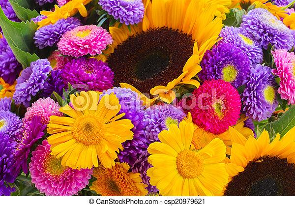 混ぜられた, 秋, 花, 花束 - csp20979621