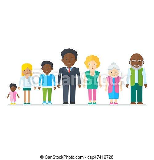 混ぜられた, 黒人の家族 - csp47412728