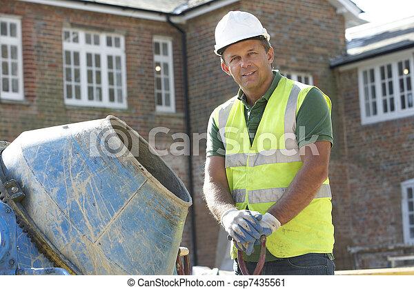 混合, 建築作業員, セメント - csp7435561