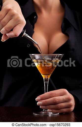 混合, 飲みなさい, ホステス - csp15670293