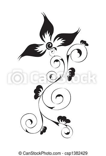 渦巻, 花のパターン - csp1382429