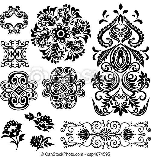 渦巻, 花の意匠, 空想, パターン - csp4674595