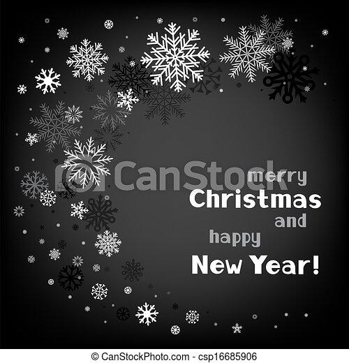 渦巻, 黒, クリスマス, 背景 - csp16685906