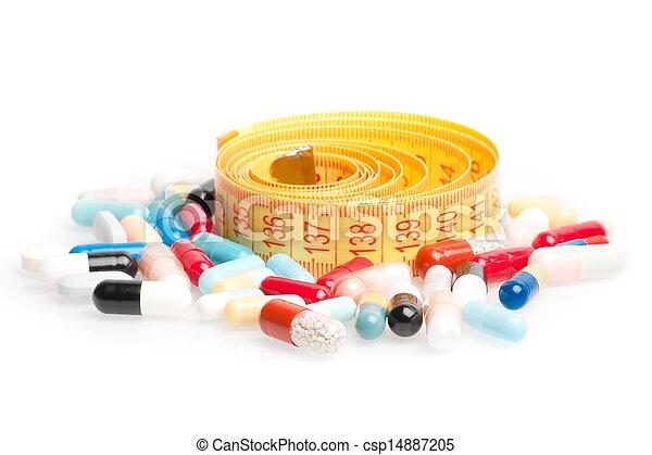 測定, ダイエットする, テープ, のまわり, 丸薬 - csp14887205