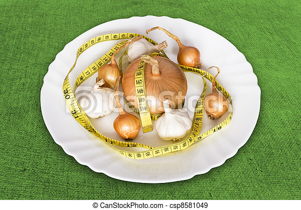 測定, テープ, 玉ねぎ, garlics - csp8581049