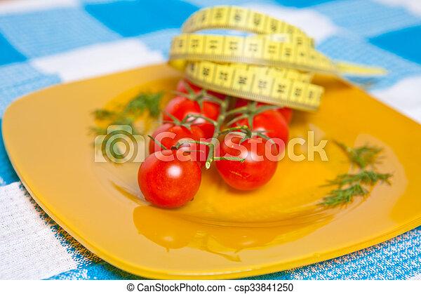 測定, プレート, さくらんぼ, 黄色, テープ, 柔軟である, トマト - csp33841250