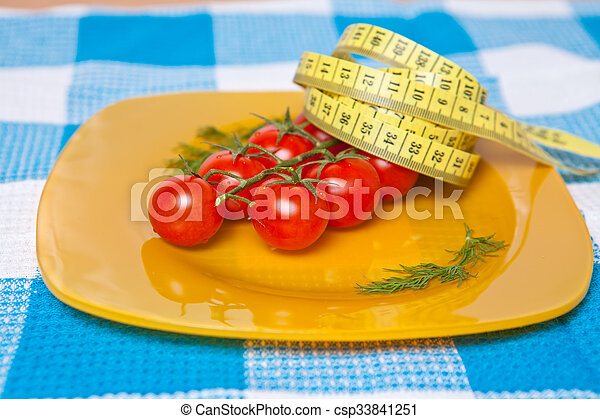 測定, プレート, さくらんぼ, 黄色, テープ, 柔軟である, トマト - csp33841251