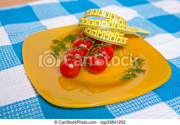 測定, プレート, さくらんぼ, 黄色, テープ, 柔軟である, トマト - csp33841252