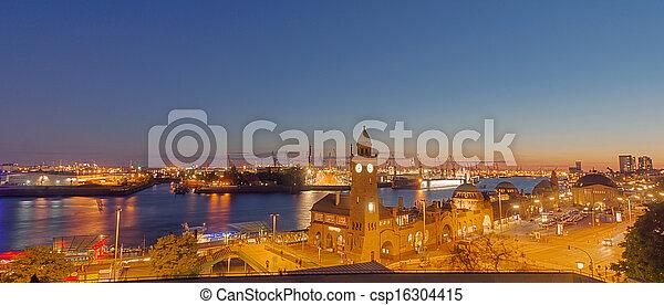 港口, 全景, 漢堡 - csp16304415