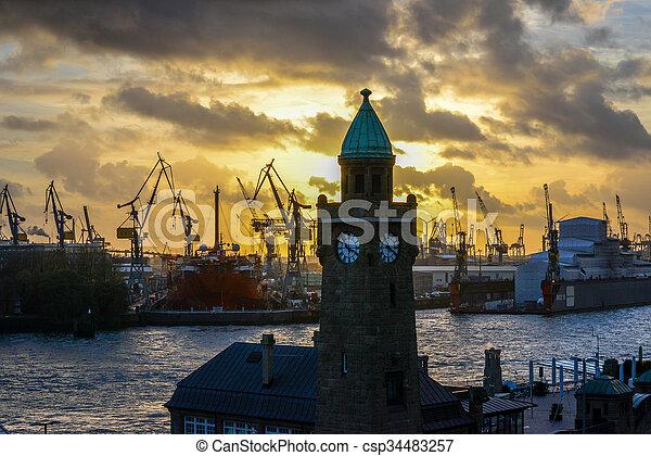 港口, 晚上, 漢堡 - csp34483257