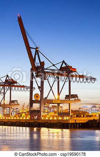 港口, 起重機, 容器, 夜晚 - csp19590178