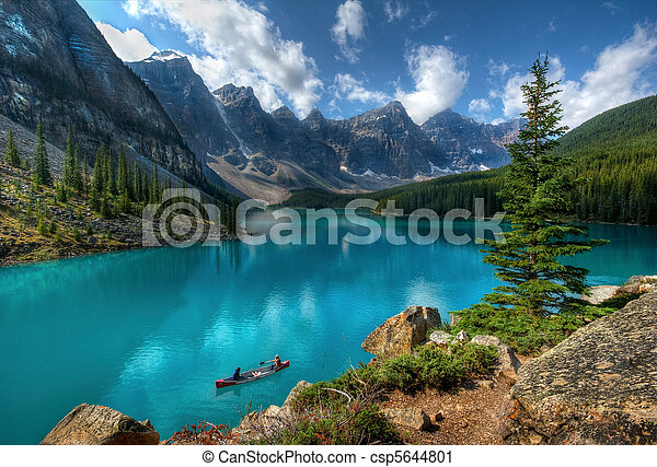 湖, 公園, 國家, banff, 冰磧 - csp5644801