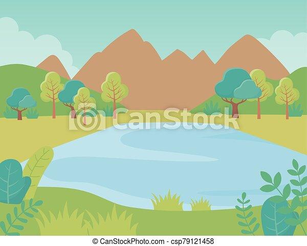 湖, 山, 群葉, 風景, 草木の栽培場, 自然, 木, イメージ - csp79121458