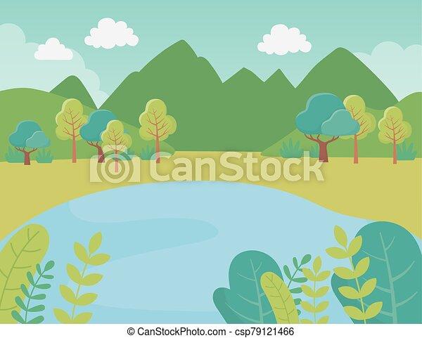 湖, 山, 群葉, 風景, 草木の栽培場, 自然, 木, 薮, イメージ - csp79121466