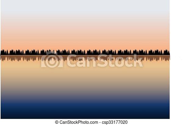 湖, 木 - csp33177020