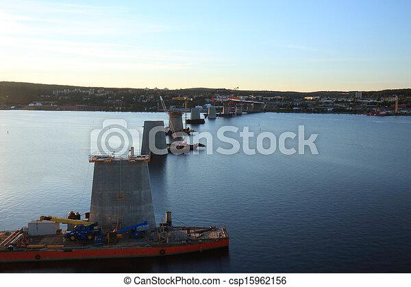 湾, 柱, 横切って, 橋 - csp15962156