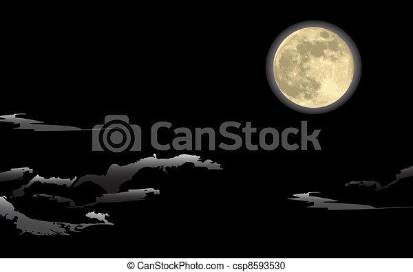 満月, 夜 - csp8593530