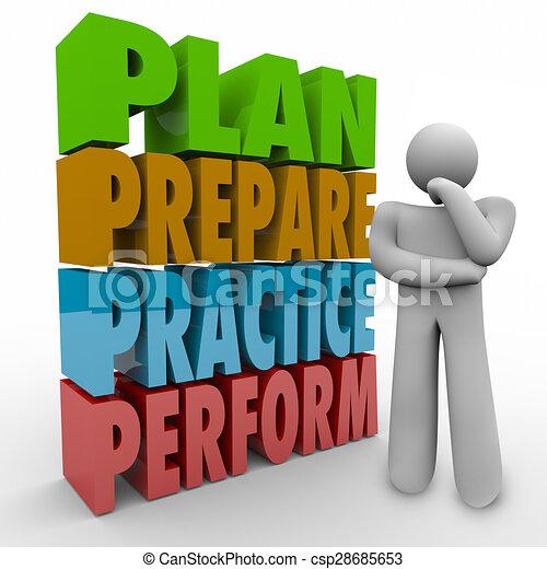 準備しなさい, 考え, 能力を発揮しなさい, 練習, 考え, 作戦, 人, 計画 - csp28685653