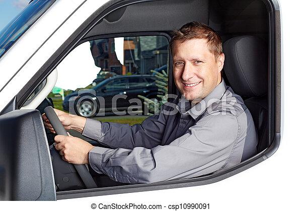 漂亮, 卡車, driver. - csp10990091