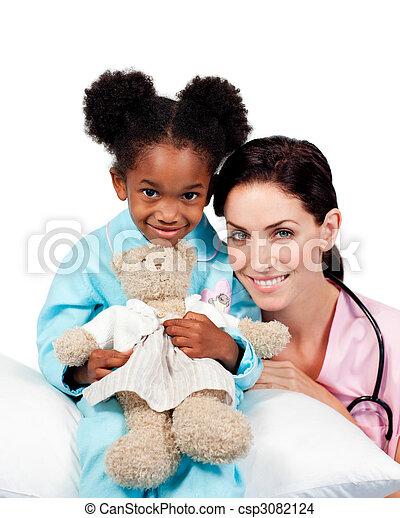 漂亮, 很少, 她, 醫生, 照像機, 女孩微笑 - csp3082124