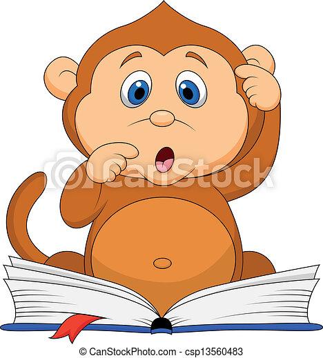 漂亮, 閱讀, 猴子, 書, 卡通 - csp13560483