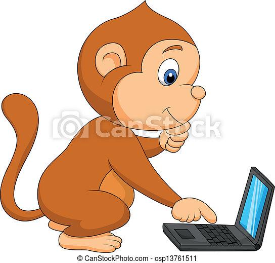 漂亮, 電腦, 猴子, 玩 - csp13761511