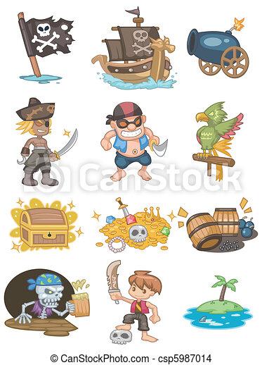漫画, アイコン, 海賊 - csp5987014