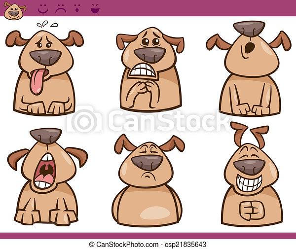 漫画, セット, 犬, イラスト, 感情 - csp21835643