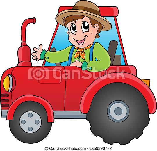 漫画, トラクター, 農夫 - csp9390772