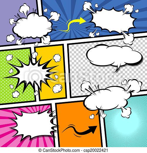 漫画, ベクトル, テンプレート, pop-art - csp20022421