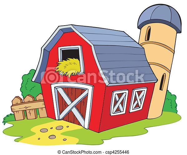 漫画, 赤い納屋 - csp4255446