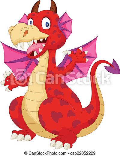 漫画, 赤, ドラゴン - csp22052229