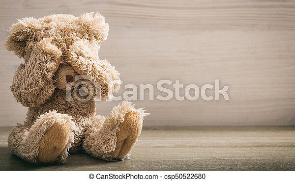 濫用, concept., 子供, 目, 熊, カバー, テディ - csp50522680