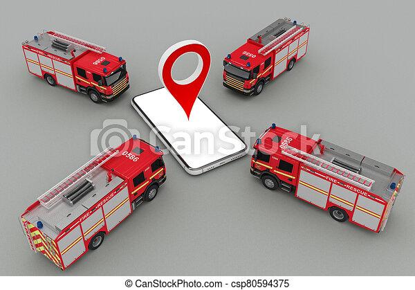 火トラック, smartphone, マーカー, ピン, グループ - csp80594375