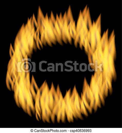 火フレーム, 隔離された, 黒い背景, 炎, 円 - csp40836993
