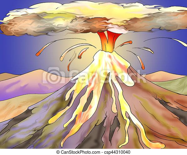 火山 暑い 爆発 溶岩 イラスト スタイル Character 爆発