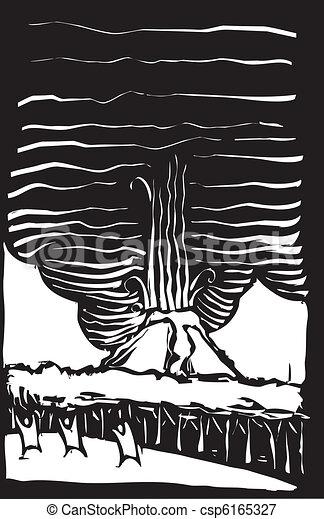 火山, 木刻, 人們 - csp6165327