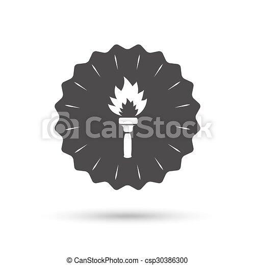 火, トーチ, シンボル。, 印, 炎, icon. - csp30386300