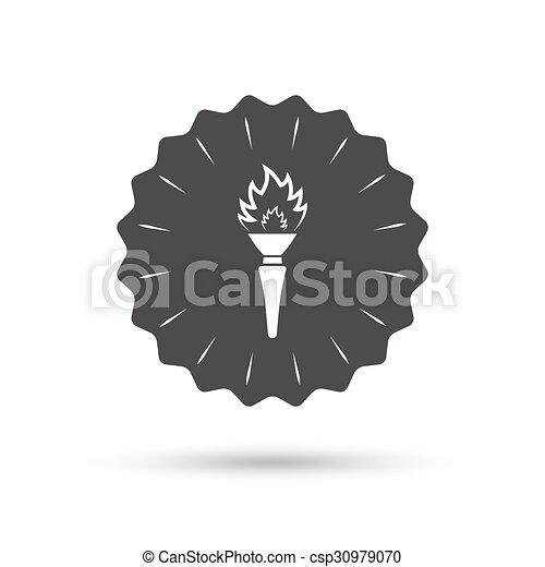 火, トーチ, シンボル。, 印, 炎, icon. - csp30979070