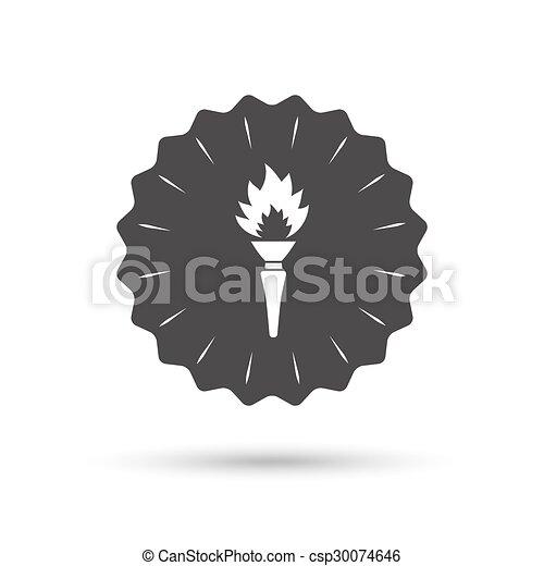 火, トーチ, シンボル。, 印, 炎, icon. - csp30074646