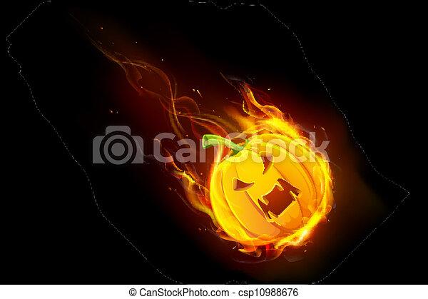 火, ハロウィーン, カボチャ - csp10988676