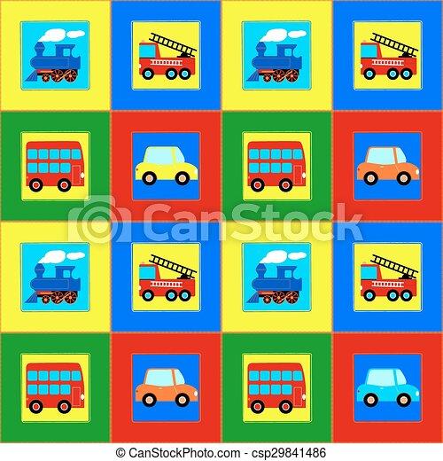 火, パターン, 列車, バス, 自動車, 子供, seamless, トラック - csp29841486