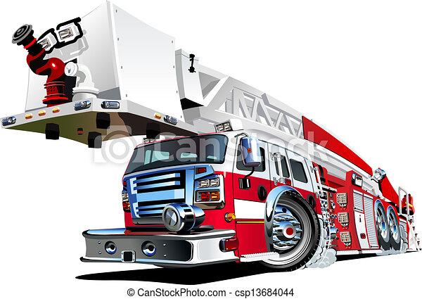 火, ベクトル, トラック, 漫画 - csp13684044