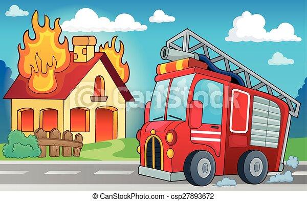 火, 主題, トラック, イメージ, 3 - csp27893672