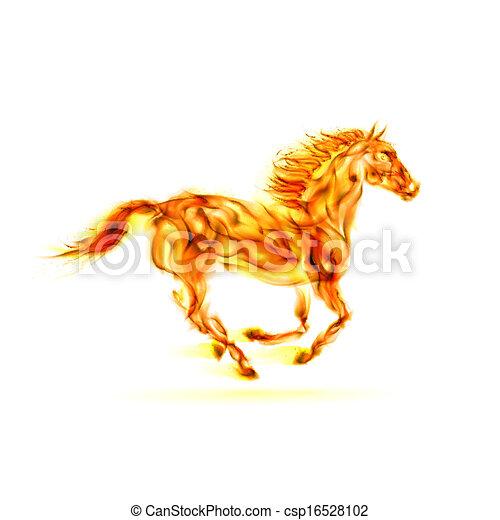 火, 動くこと, horse. - csp16528102