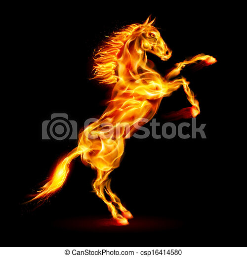 火, 後ろ足で立つ, 馬, 。 - csp16414580